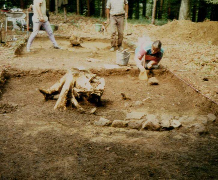 Taborkogel. Arbeitsfoto. Ausgrabung im Bereich des einfachen Steinfundamentes des Gebäudes. (©UMJ)